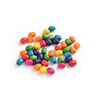 Packet 300+ Mixed Wood 4 x 6mm Plain Rice Beads HA23080