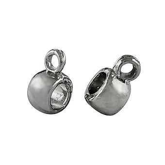 Packet 20 x Antique Silver Tibetan Barrel Charm Hangers 6 x 9mm Y01440