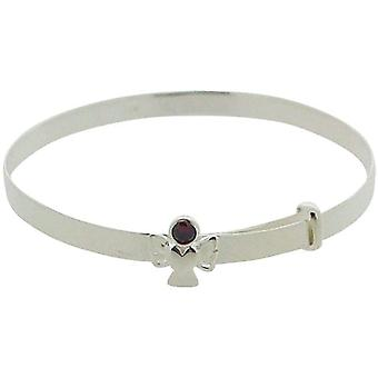 Jo For Girls Sterling Silver January Red Simulated Birthstone Angel Bangle