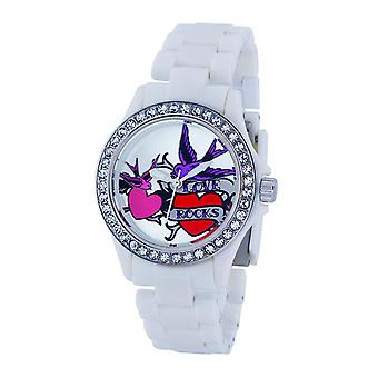 Rosa Cookie Damen-Girls Silber Zifferblatt weiß Kunststoffband Watch PCL-0009