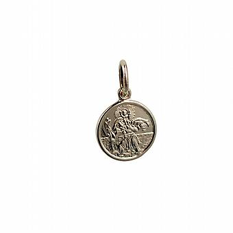 1/20 14ct żółte złoto na srebrne 10mm okrągły St Christoper wisiorka lub urok nadaje się tylko dla dzieci