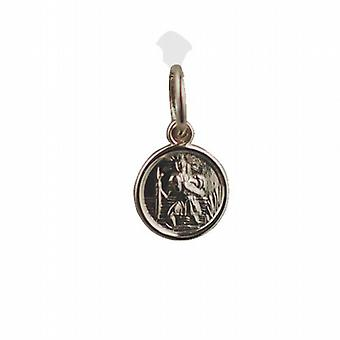 9ct gull 8mm runde St Christopher anheng