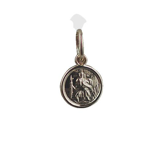 9ct Gold 8mm round St Christopher Pendant