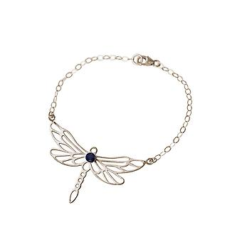 Gemshine Armband Libelle mit blauem Iolith Edelstein in massiv 925 Silber. Hochwertig verarbeitete Armkette. Nachhaltiger, qualitätsvoller Schmuck Made in Spain