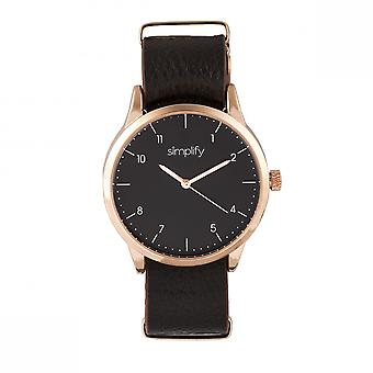 Simplify The 5600 Leather-Band Watch - Black/Dark Brown