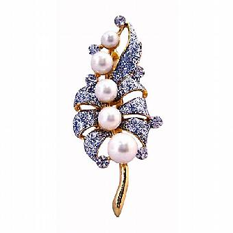 Gold Bouquet Of Pearls Diamond Encrusted On Each Leave Wedding Brooch