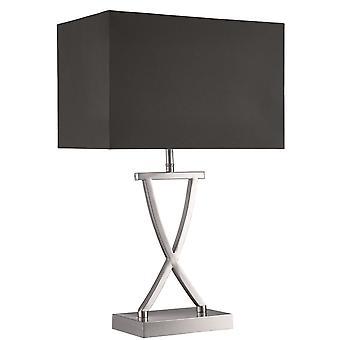 Satin Silver bordslampa med svart skugga - strålkastare 7923SS