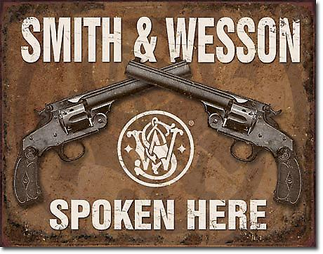 Smith & Wesson Spoken Here metal sign  (de pt)