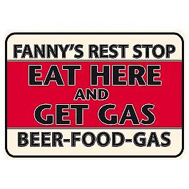 Fannys Rest Stop small metal sign    (fd 3021)