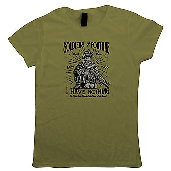 Soldiers Of Fortune Womens T-Shirt | Army Medic War Combat Warfare Soldier Forces Armed  | Missile Firepower Explosive Firearm Ammunition Gun  | Military Gift Her Mum