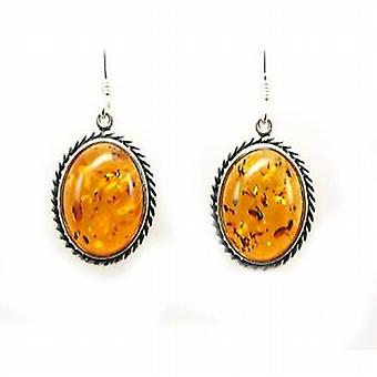 The Olivia Collection Sterling Silver Amber Drop Oval Earrings