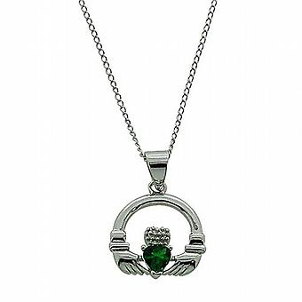 TOC Sterling Silver Green CZ Heart Claddagh Pendant Necklace 18