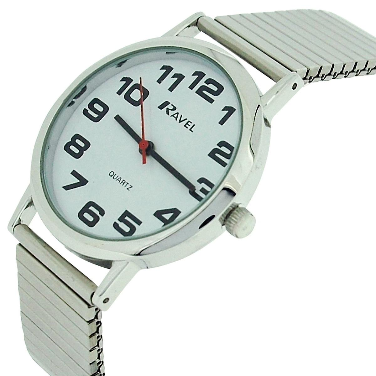 Ravel Gents Stainless Steel Soft Expandable Bracelet Strap Watch R0208.02.1