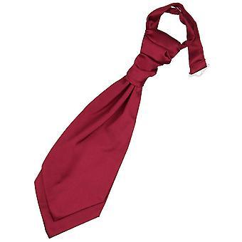 Burgundy Plain Satin Pre-Tied Wedding Cravat for Boys
