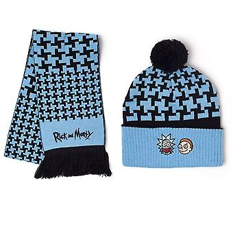 Rick und Morty Beanie & Scarf Giftset One Size Blue/Black (GS201170RMT)
