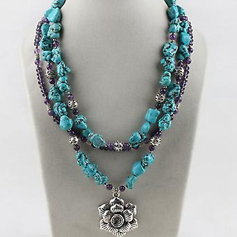Multi strand Turquoise Amethyst Flower Necklace