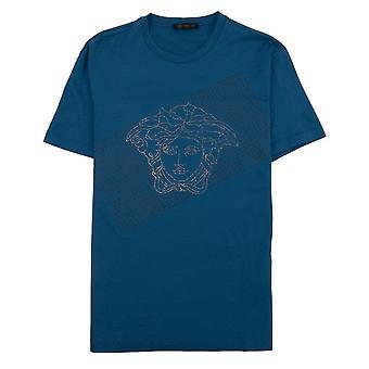 Versace Rhinestone Logo T-Shirt Turquoise