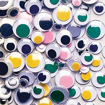 Paste On Wiggle Eyes Assorted 7Mm To 15Mm 100 Pkg Assorted Colors 3446 01