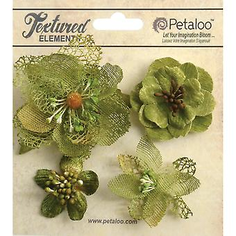 Mixed Textured Blossoms 4 Pkg Moss Green P1256 201