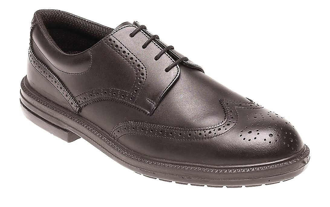Toesavers Black Leather Brogue Safety Shoe with Dual Density Sole & Midsole