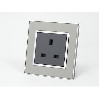 I LumoS AS Luxury Silver Satin Metal Single Unswitched Wall Plug 13A UK Sockets