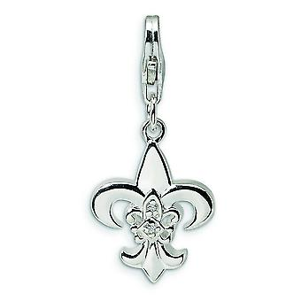 Sterling Silver CZ Polished Fleur de Lis With Lobster Clasp Charm - Measures 26x12mm