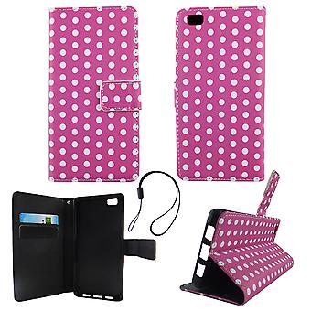 Cell phone cover case for mobile Huawei P8 Lite polka dot purple white
