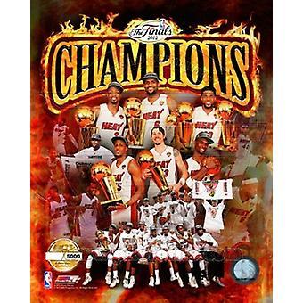 Miami Heat 2012 NBA Champions PF gouden samengestelde sport foto (8 x 10)