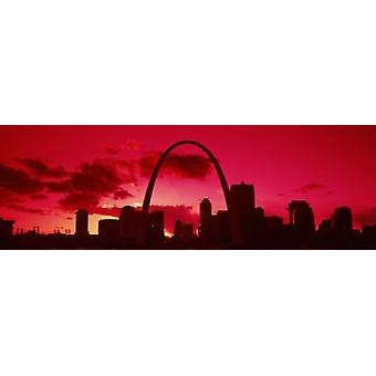 Gateway Arch with city skyline at sunset St Louis Missouri USA 2013 Poster Print