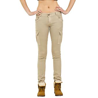 Slim Low Rise Cargo Trousers - Beige