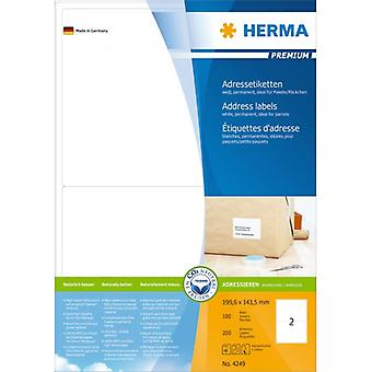 Address labels white 199, 6x143, 5, Herma Premium A4 200 pcs.