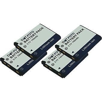 4 x Dot.Foto Vivitar 02491-0056-00, 02491-0057-00 Replacement Battery - 3.7v / 740mAh