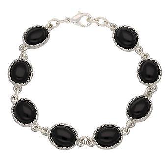 Handgemaakte Keltische Design groot ovaal gevormde zwarte Onyx edelstenen tinnen armband