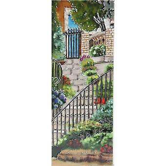YH Arts Ceramic Wall Art, Garden Steps, Design 2 6 x 16