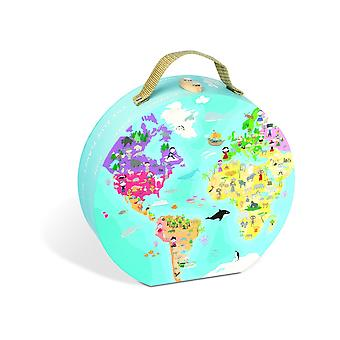 Janod 4502926 Jigsaw and Case 208 Pieces Round Our Blue Planet