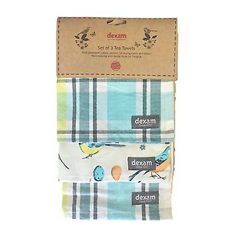Dexam Vintage Songbird Tea Towels Set of 3