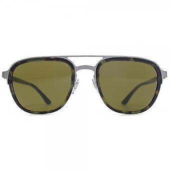 Giorgio Armani Double Bridge Aviator Sunglasses In Matte Gunmetal Green Havana