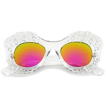 Transparente Ausschnitt Frame farbige Spiegel Objektiv Oversize Butterfly Sonnenbrille 49mm