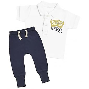 Spoilt Rotten Part Time Super Hero Baby Polo T-Shirt & Navy Joggers Outfit Set