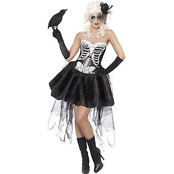 Smiffys Skelly Von Trap Costume Black Dress With Netting (Costumes)