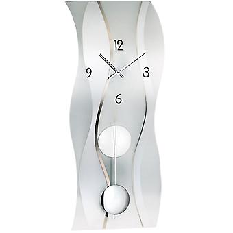 Wall clock quartz pendulum clock clock with pendulum frosted mineral glass 60 x 25 cm AMS