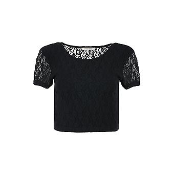 pièces Tracy lace shirt ladies crop top black 17065066