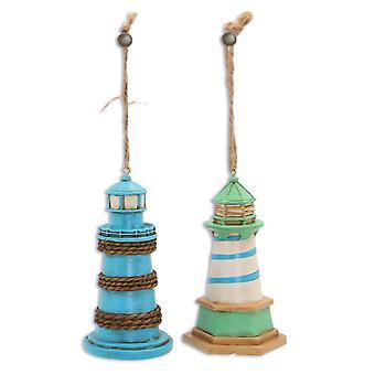 Blå og grønne Lighthouse Christmas Holiday smykker sæt af 2
