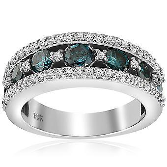 1 3 / 4ct Blue Diamond Ring 14K or blanc