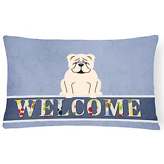 English Bulldog White Welcome Canvas Fabric Decorative Pillow