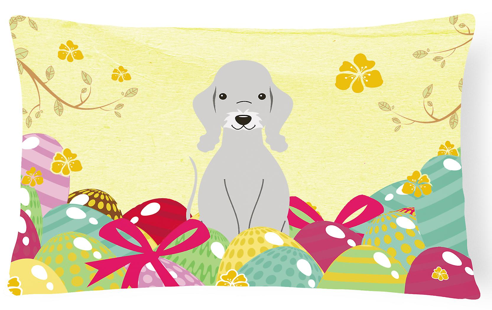 Pâques Bedlington Oeufs Oreiller Décoratif De Tissu Toile Bleu Terrier QdoBrxCtsh
