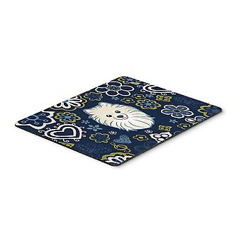 Blue Flowers Pomeranian Mouse Pad, Hot Pad or Trivet