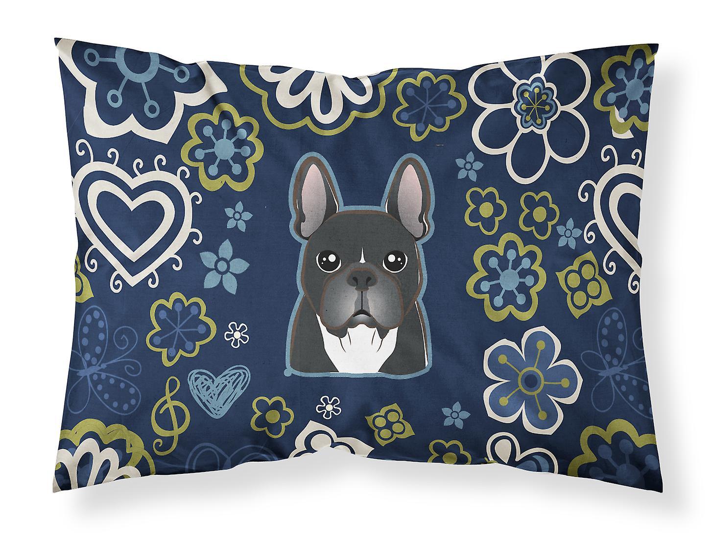 Bulldog Tissu Bleues D'oreiller Français Taie Standard De Fleurs D2H9WIEY