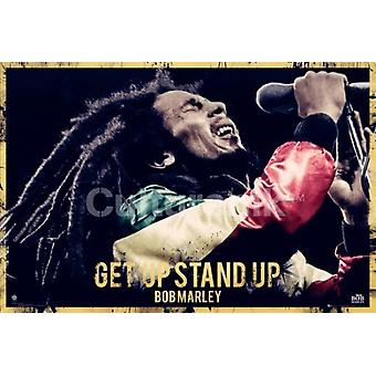 Bob Marley - Get Up Stand Up Quote Poster Poster Print