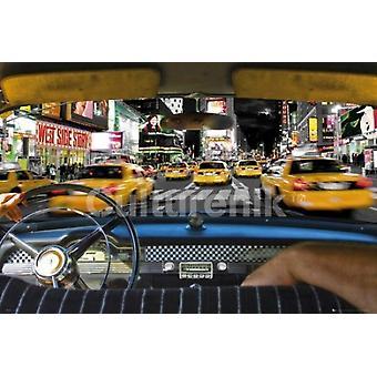 Tiempos de Nueva York Taxi Plaza paseo cartel Poster Print